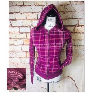 ARIZONA | EUC | Plaid Hooded Jacket
